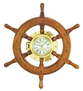 Benzara 01193 20 in. Solid Wood Shipwheel Porthole Brass Clock Nautical