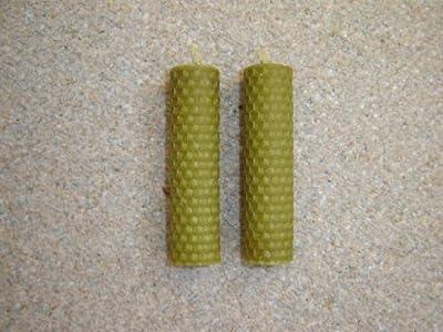 2 X Handmade Beeswax Candles 100mm X 26mm Dark Green