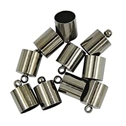 10pcs Brass End Bead Cap for 8mm 9mm Cord Jewelry Necklace Findings Silver - Gun Black
