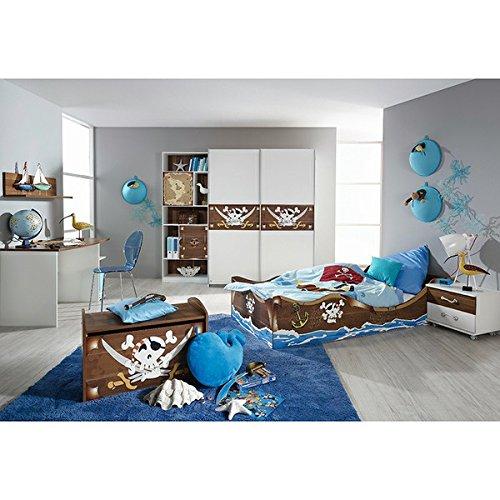 CRAVOG-Kinderzimmer-Kinderbett-Nachtkommode-Kleiderschrank-Schreibtisch-Pirat-4-tlg-Jugendzimmer-Design