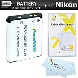 Battery Kit For Nikon Coolpix S3500 S6400 S3100 S4100 S100 S4300 S3300 S5200 S6500 S3200 S4200 Digital Camera Includes Replacement Extended (1000Mah) EN-EL19 Battery + LCD Screen Protectors + MicroFiber Cleaning Cloth (BATTERY ONLY)