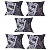 MeSleep Digitally Printed 5 Piece Cushion Cover Set - Black And White
