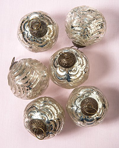Luna Bazaar Silver Mercury Glass Christmas Wave Ball Design Ornaments - Set of 6 by Cultural Intrigue
