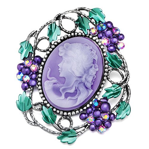 Pugster Christmas Gifts Classic Antique Lady Maiden Profile Oval Purple Beauty Cameo Border Green Leaf Floral Swarovski Crystal Brooches Pins