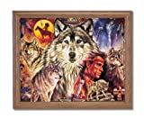Native American Indian Brave With Wolf Home Decor Wall Picture Oak Framed Art Print