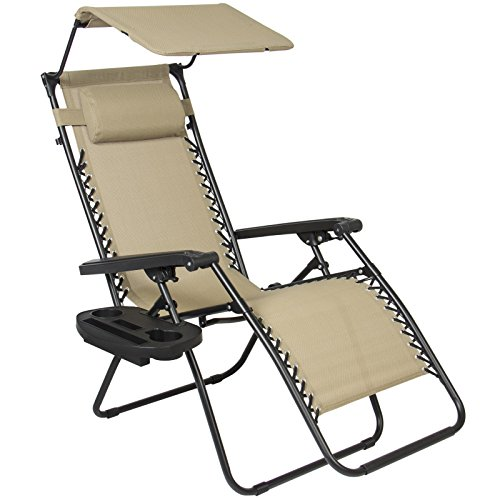 Folding Zero Gravity Recliner Lounge Chair W/ Canopy Shade & Magazine Cup Holder