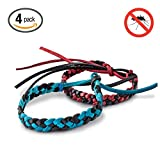Hoont™ Natural Mosquito Repellent Faux Leather Braided Bracelet - Pack of 4 / Enjoy Outdoor & Indoor Protection - Special Formulated Natural Plant-derived Ingredients - Fits Adults and Teens