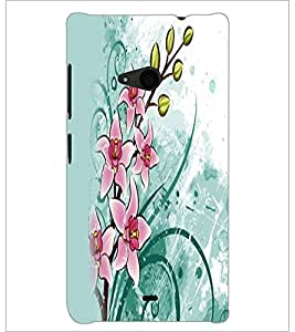 PrintDhaba Flowers D-2353 Back Case Cover for MICROSOFT LUMIA 535 (Multi-Coloured)