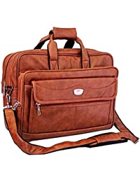 "AYS Stylish 16"" Brown Colour Faux Leather Full Expandable Laptop Sleeve Messenger Sling Office Bag With Shoulder..."