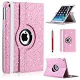 CellDeal For Apple iPad Air 360 Rotating Magnetic Bling PU Leather Case Smart Cover Stand + Light Pink