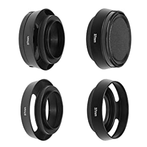 SIOTI Camera Standard Hollow Vented Metal Lens Hood with Cleaning Cloth and Lens Cap Compatible with Leica/Fuji/Nikon/Canon/Samsung Standard Thread Lens (Color: Standard Vented, Tamaño: 37mm)