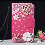 Bling Diamond Wallet PU Flip Leather Hard Case For Samsung Galaxy S2 II T989 T-mobile Phone (RoseRed_Crown) by Leather Factory Outlet