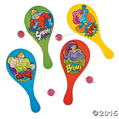 Wood Superhero Paddleballs - Pack of 12