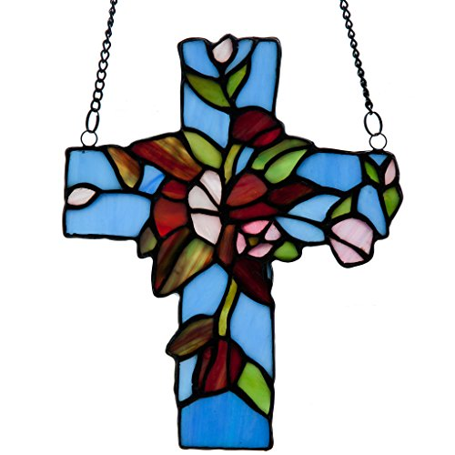 """River of Goods Flowers & Vines Cross Stained Glass Window Panel, 8.25"""""""
