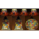 Mosaic Glass Hanging Lamp & Tealight Candle Holder Combo Set Of 7 Pcs For Rakhi Gift
