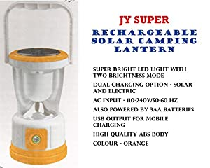 JY SUPER JY-3371 Solar Camping Lantern is a green-environment friendly product. It is useful for camping, studying and other emergency lighting operation for your day to day life. It can also be used for mobile charging.