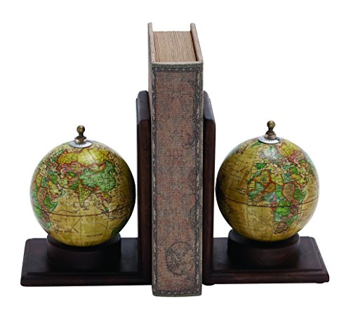 Deco 79 Wood Metal Globe Book End, 8 by 6-Inch