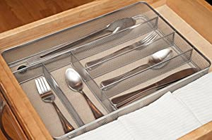 KD Organizers 6-Slot Large Mesh Drawer Organizer: Use as kitchen flatware or cutlery tray, bathroom accessories holder, junk drawer dividers and more!