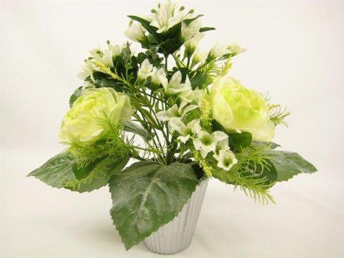 18cm en pot Soie Artificielle Crème Rose Chou avec Freesia mixte Fleurs