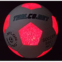 Light-up TealCo Soccer Ball - Led-lighted Glow In The Dark, Full Size 5, Extra Light And Extra Batteries Included