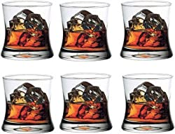Famacart Wine Glass Wisky Glass Ocean Tango Rock Tumbler 350 ml, Clear, Pack of 6