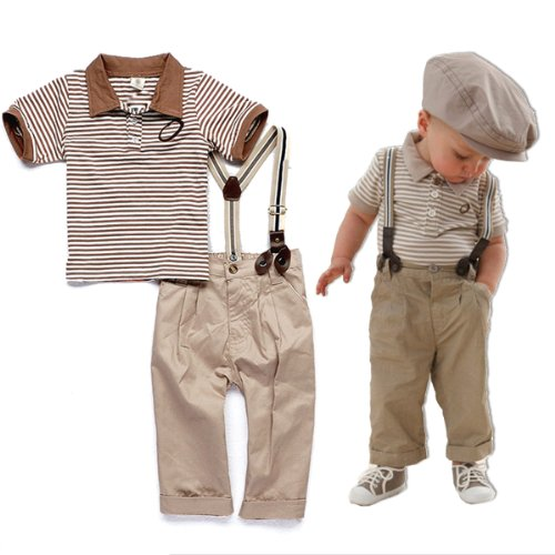 TKC Toddler Baby Boys Clothes Summer Outfit with Suspender 9-12m, 2t, 3t, 4t, 5
