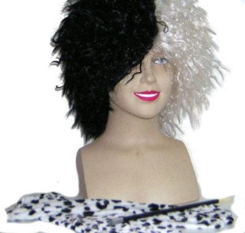 Cruella Deville Fancy Dress Wig, Gloves, Cig Holder Kit