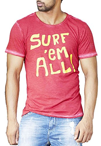 Masculino Latino Casual Red T-shirts Round Neck for Men MLT3001B-XL