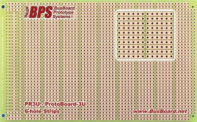 pr3u-protoboard-6h-3u-6-hole-strips-1-sided-pcb-accepts-din-conn-394-x-630-in-100-x-160-mm