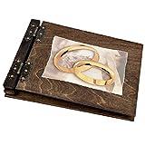 50 Blatt Fotoalbum Holz mit großen Ringen in Gold 100 schwarze 300g Karton Innenseiten