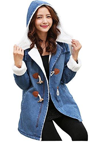 Meilaier Womens Hooded Jeans Jacket Fleece Outwear Long Denim Coat Winter (M, Dark Blue)