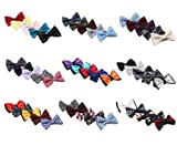 Bundle Monster Mens Tuxedo Solid Patterned Adjustable Neck Bowtie Bow Tie 5pc Assorted Lot Set