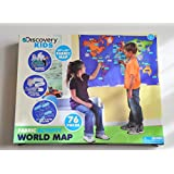 """Discovery Kids Fabric Activity World Map 76 Piece Learning Activity 55"""" by 33"""""""