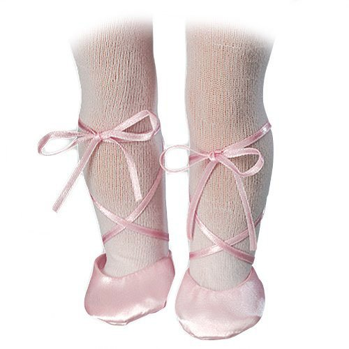 Doll Ballet Slippers & White Doll Tights fit for 18 Inch American Girl Dolls - Pink Doll Slippers and White Doll Tights Set - 1