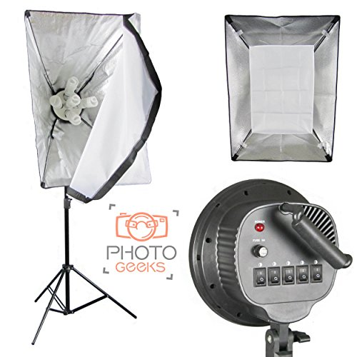 PhotoGeeks Single Softbox Continuous Studio Light - 5 Bulb Lamp Holder - 1125w Fluorescent Lighting - 50x70cm Softbox