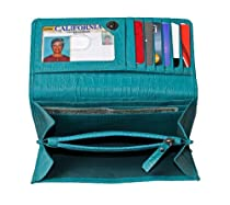 RFID Blocking Womens Croco Embossed Nappa Leather Wallet-Teal by Access Denied