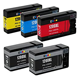 E-Z Ink (TM) Compatible Ink Cartridge Replacement For Canon PGI-1200 XL PGI-1200XL PGI1200XL High Yield (2 Black 9183B001, 1 Cyan 9196B001, 1 Magenta 9197B001, 1 Yellow 9198B001) 5 Pack