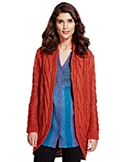 Per Una Open Front Cable Knit Cardigan with Wool