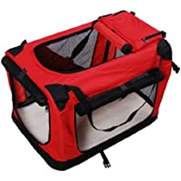 """New Folding Fabric Soft Portable Pet Dog Cat Crate Puppy Kennel Cage Carrier House Large 27"""" Red"""