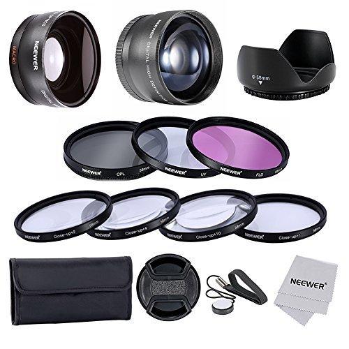 Neewer® 58MM Lenti Filtri Kit e per CANON EOS REBEL 700D 650D 600D 550D 500D 450D 400D 350D 100D (T5i T4i T3i T2i T1i XSi XTi XT SL1), kit include:0.45x Obiettivo Grandangolare + 2x HD Obiettivi di Teleofoto + Kit filtro (UV, CPL, FLD) + Macro Close-Up Set (+1, +2, +4, +10) + parasole a forma di tulipano+copriobiettivo con cinturino per il copriobiettivo+Borsetta portabile per filtri + panno in microfibra.