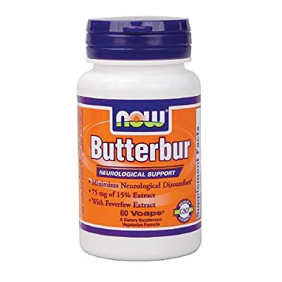 NOW Foods Butterbur with Feverfew, Vegetarian Capsules 60 ea