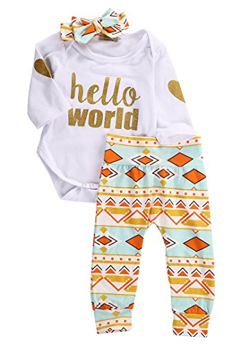 Newborn Baby Girls Top Rompers+Floral Pants Leggings Headband 3pcs Outfits Set (6-12 Months, Golden Hello World)
