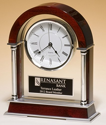 Personalized Cathedral Wood Mahogany Desk Table Clock with Black Glass Border and Gold Engraving Plate as Personalized Award Gift for all occasions. This desk engrave clock can be a retirement gift, employee service award gift or birthday gift