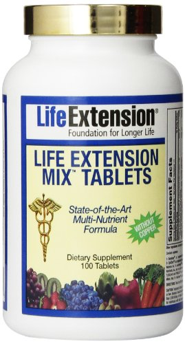 Life Extension Mix Without Copper Tablets, 100 Count
