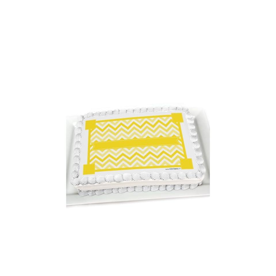Chevron Yellow   Edible Cake Topper Toys & Games