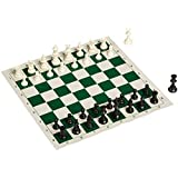 King Best Value Tournament Chess Set - 90% Plastic Filled Chess Pieces and Green Roll-up Vinyl Chess Board with BLACK CANVAS BAG (Color: Green, Tamaño: Large)
