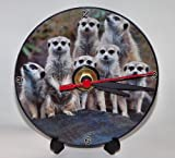 MEERKAT DESIGN 4 WHAT ARE YOU LOOKING AT? * A CD/DVD (12 cm diameter) SIZED NOVELTY CD QUARTZ WALL CLOCK WITH FREE BATTERY AND DESK STAND * CAN BE PERSONALISED