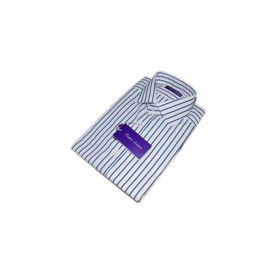 Polo Ralph Lauren Purple Label Mens Dress Shirt Blue White Stripe