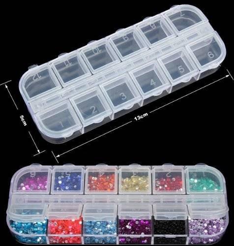 CAMTOA 12 Nail Art boîte à compartiments de rangement en plastique outil de bijoux conteneurs