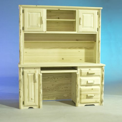 Log Furniture - Desk  Hutch-Varnished - Free Shipping